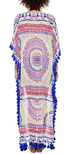 GenialES Vestido Bohemia Estampada Pareo Bikini Cover Up Mangas Cortas Playa Talla única Multicolor Type B