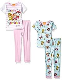 Nickelodeon girls Toddler Girls Paw Patrol 4-piece Cotton Pajama Set