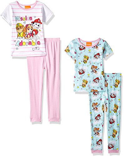 Nickelodeon Girls' Toddler Girls' Paw Patrol 4-Piece Cotton Pajama Set, Pink/White, 2T by Nickelodeon