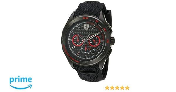 dbaed903a Amazon.com: Scuderia Ferrari Men's Stainless Steel Quartz Watch with  Silicone Strap, Black, 24 (Model: 830344): Watches