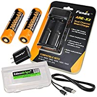 Fenix ARE-X2 battery charger (USB Powered), two Fenix ARB-L18-2600 Li-ion rechargeable 18650 batteries with EdisonBright Battery carry case bundle
