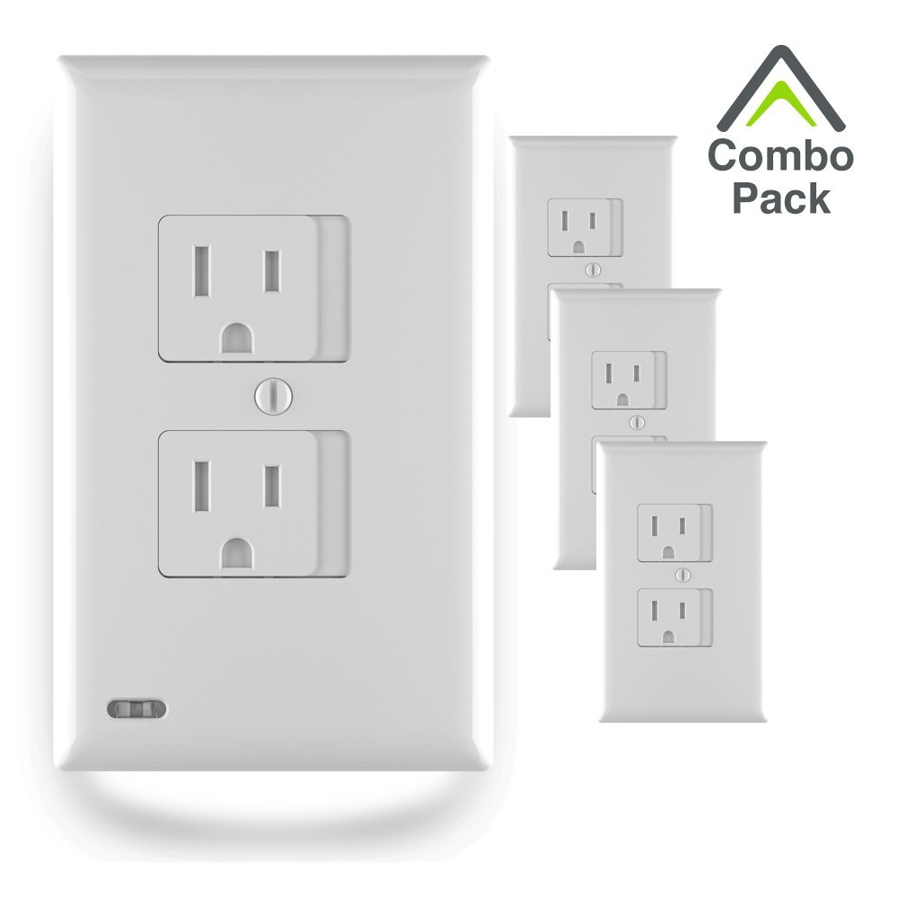 SnapPower Combo Pack (1 SafeLight, 3 SafePlate) - Outlet Wall Plate With LED Night Lights - No Batteries Or Wires - Installs In Seconds (Duplex, White)