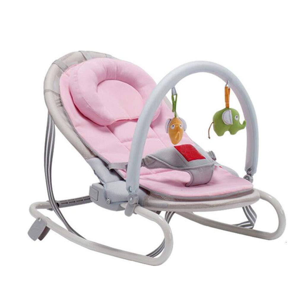 Erhöhen Sie den Schüttelstuhl Drei-Geschwindigkeits-justierbare faltende Zerlegungkissen-Kopfkissen-Beschwichtigungs-Liegenkorb-Schwingen-Bett bequem 4 Farbe 64cm  47cm  63cm MUMUJIN Rosa