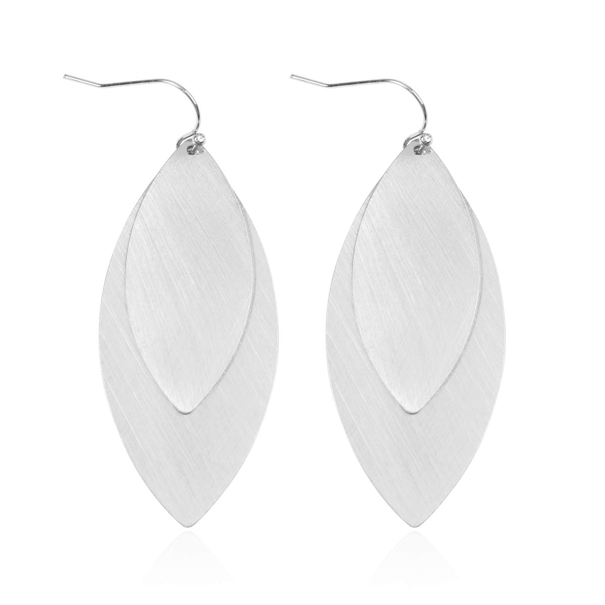 36232fcb6 Amazon.com: RIAH FASHION Classic Geometric Leaf Cutout Open Hoop Earrings -  Simple Metallic Marquise Pointed Oval Statement Hoops/Floating Petal Drop  ...