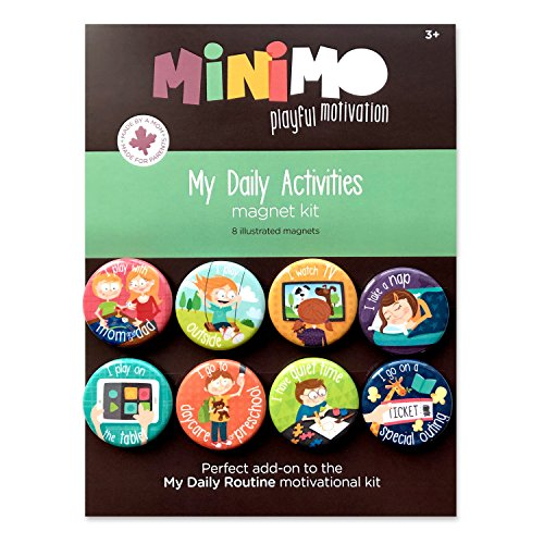 My Daily Activities Magnet Kit - 8 Illustrated Magnets with Steps for Daily Activities - Morning and Bedtime Routine (Motivation Charts Kids)