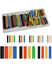 Kissral 328Pcs Heat Shrink Tubing Electric Insulation Heat Shrink Wrap Cable Sleeve 5 Colours 8 Sizes, Shrink Ratio 2: 1