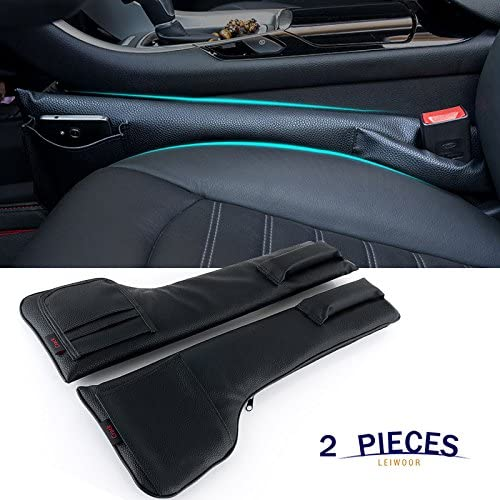 Easy to Access Cellphones Cards Glasses Cables and Gadgets Elegant Black, 2 PCS, Fits 0.8-1.6 inches Premium PU Leather Car Gap Filler Storage Pockets with Antislip Foam Car Seat Side Pocket