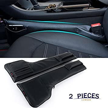 Supin 2 Pieces Car Seat Pockets PU Leather Car Console Side Organizer etc Black Phone Sunglasses Seat Catcher Holders Compatible with Phone Key Wallet