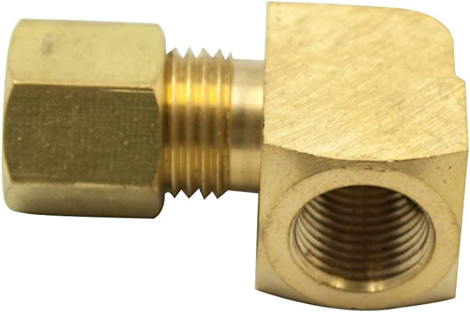 Legines Brass Compression Tubing Fitting Pack of 2 5//16 Tube OD x 1//4 NPT Female Female Adapter