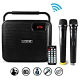MAONO Bluetooth PA system with Two Wireless Handheld Microphones for Christmas Adults Kids FM Radio (Black)