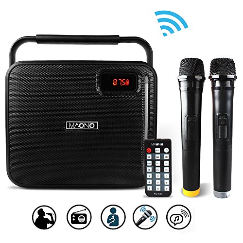 MAONO Bluetooth PA system with Two Wireless Handheld Microphones for Christmas Adults Kids FM Radio (Black) (Systems Wireless Speaker Professional)