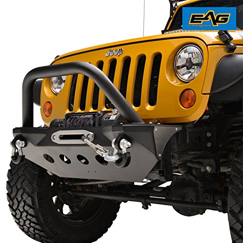Jeep Wrangler Front End (EAG KG-3 Stubby Front Bumper with Skid Plate for 07-18 Jeep Wrangler JK)