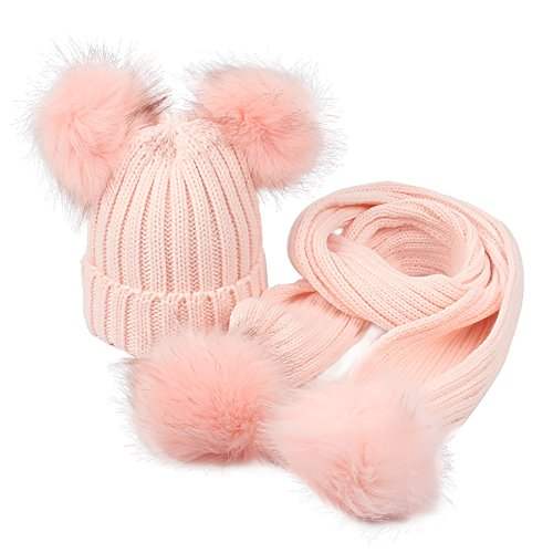 (GESDY Baby Girls Knitted Hat Scarf Set Boys Kids Warm Detachable Double Faux Fur Pom Crochet Skull Cap Beanie Hats (Pink))
