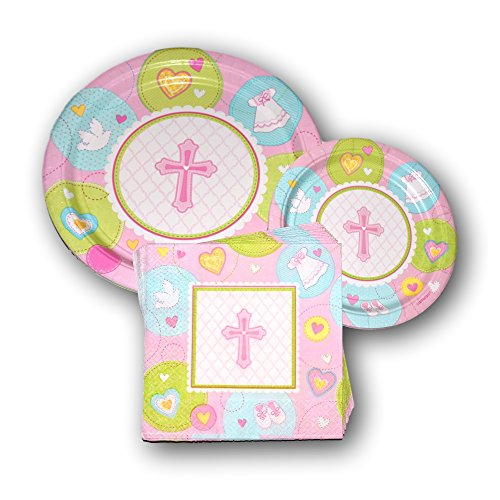 Baptism Religious Pink Cross Party Paper Plates and Napkins Bundle - Party Pack Disposable Dinnerware Set Includes Baby Baptism Dinner Plates - Pink Cross Dessert Plates and Religious Cross Napkins