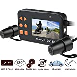Motorcycle Dash Cam, OXOQO Waterproof HD 1080p 2.7'LCD Screen 130° Wide Angle Dual Lens Front & Rear Motorcycle Video Recorder Driving Recorder Sports Action Camera with Night Vision