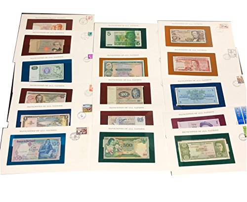 16 Bank Notes Of All Nations Fdc Currency  All Crisp Cu  Different Countries  Uncirculated  Vintage Collection