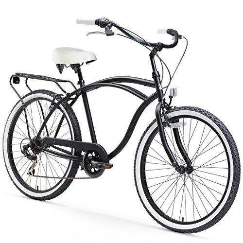 Enterprises Tour Cruiser - sixthreezero Around The Block Men's 7-Speed Cruiser Bicycle, Matte Black w/White Seat/Grips, 26