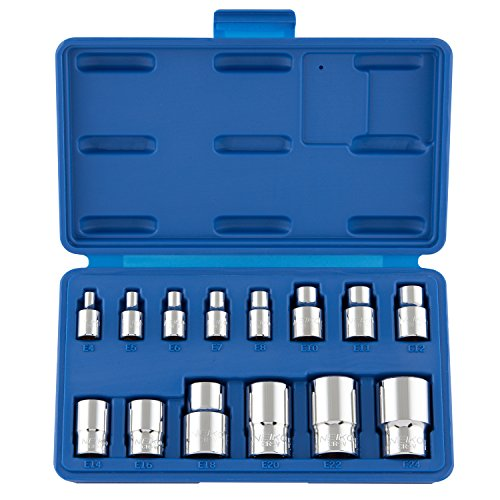 Neiko 04300A External Star Torx Socket Set, E4 to E24 | 14-Piece Set, Cr-V Steel, 1/4