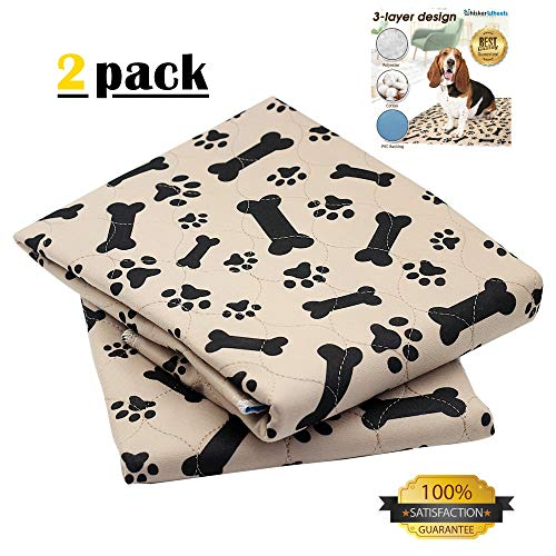 Whisker Wheels Washable Reusable Pet Pee Pad for Dogs | 2-Pack Large (30x32) Leak Proof – Anti-Slip Waterproof & Super Absorbent – Comfortable Solution for whelping & Incontinence