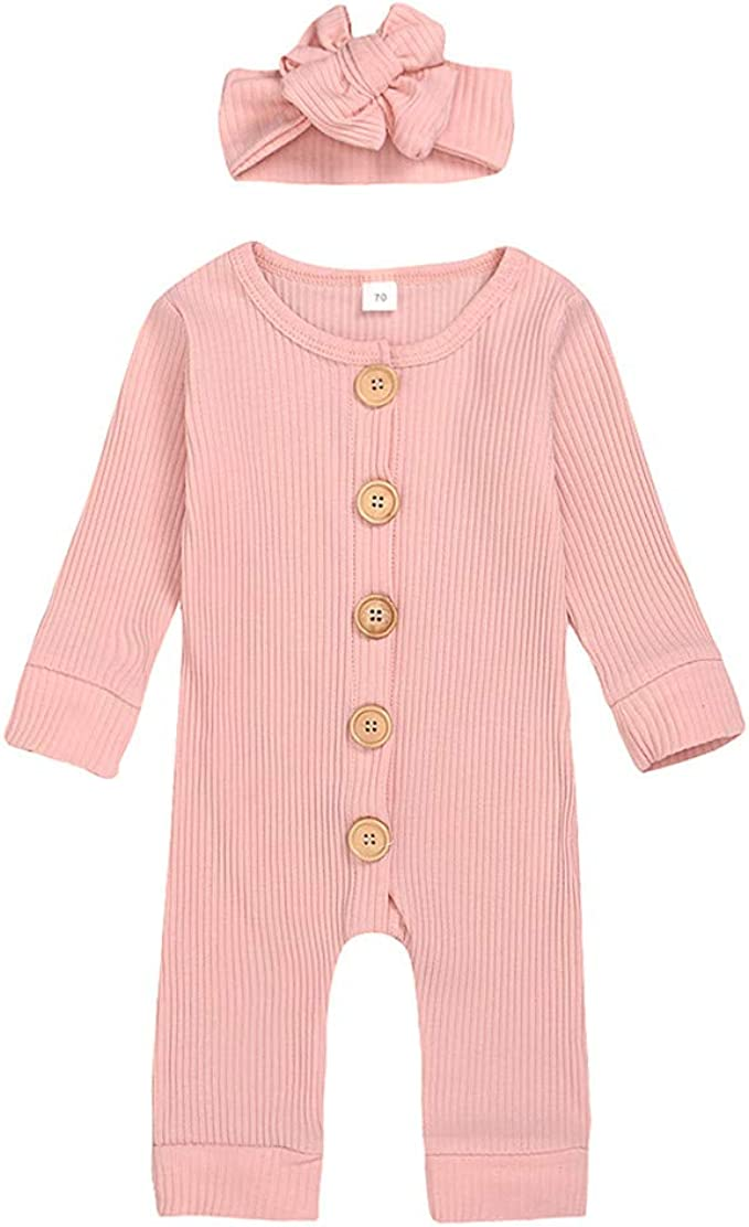 Madjtlqy Newborn Baby Boy Girl Romper Jumpsuit Knitted Clothes Button Bodysuit Infant One-Piece Ribbed Knit Outfits