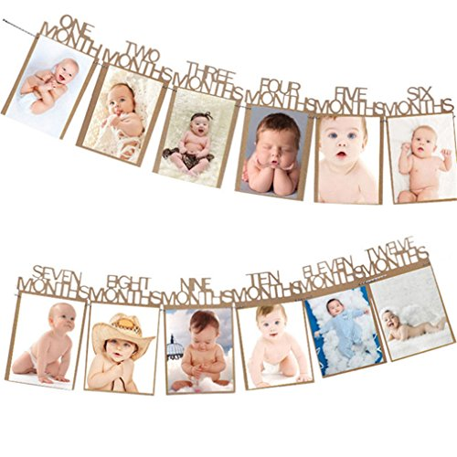 Gole/Pink Milestone Photo Banner Boy Girl 1-12 Month Photo Bunting Garland Baby Shower 1St First Birthday Party Decorations -