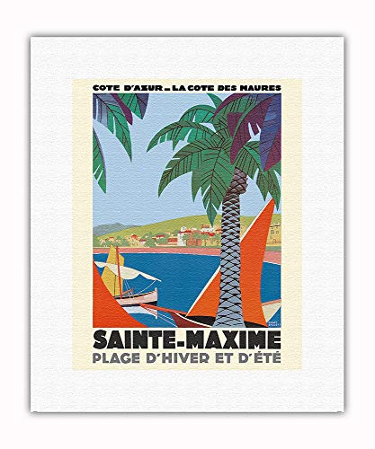 Pacifica Island Art - Saint Maxime France - Cote D'Azur French Riveria - Vintage Railroad Travel Poster by Roger Broders c.1930 - Fine Art Rolled Canvas Print - 11in x 14in