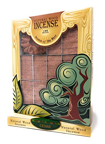 Cedar Wood Incense - 100 Bricks Plus Burner - Incienso De Santa Fe