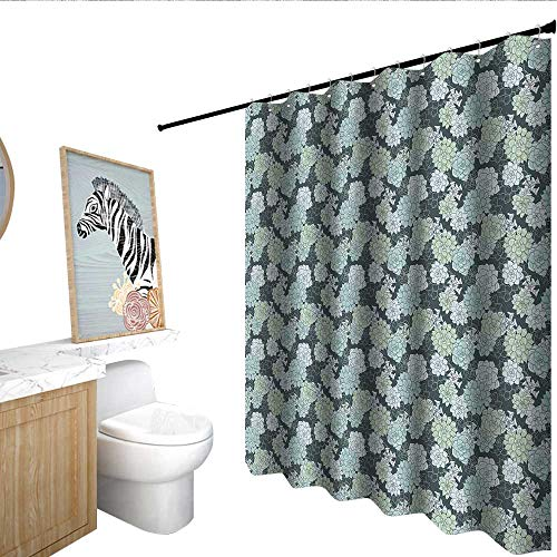 RenteriaDecor Succulent Shower stall Curtains Abstract Hand Drawn Style Cactus Flowers Pattern in Green Shades Mildew Resistant Teal Sage Green Pale Green W72 x L84