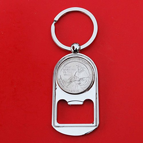 Silver Quarter Key (US 2016 Kentucky Cumberland Gap National Historical Park Quarter BU Uncirculated Coin Silver Tone Key Chain Ring Bottle Opener NEW - America the Beautiful)