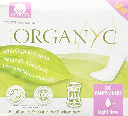 Organyc 100% Organic Cotton Panty Liners for Sensitive Skin, LIGHT, 24 count 51E8wqPlfNL
