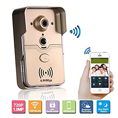 KAREye Smart Home WiFi Remote Video Door Phone Intercom Doorbell Camera HD 720P Support P2P Alarm IR Night Vision Supports iOS/Android System