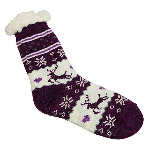 Calze Antiscivolo Invernali Da Donna £ ¬super Morbide E Accoglienti In Felpa Calda Fodera In Pile Pantofole Viola