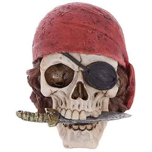 Inveroo Warrior Pirate Skull Head with Red Bandana Figurine Statue Halloween Skeleton Pirates Death Skeleton Enthusiast Desktop Decor]()