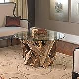 Plymouth Coastal Beach Teak Driftwood Round Glass Coffee Table