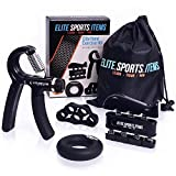 Hand Grip Strengthener Workout (4 Pack) - Adjustable Resistance Hand Strengthener, Finger Exerciser, Finger Stretcher, Grip Ring + Carrying Bag + eBook + 3 Years Warranty - ELITE SPORTS ITEMS