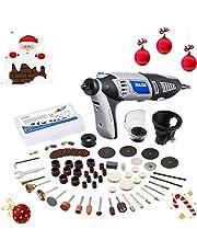 Amoladora Eléctrica 220V 190W DRILLPRO Kit de Herramientas Rotatorias Multifunción con 98 Accesorios para Cortar/Pulir/Pulir/Taladrar/Esculpir