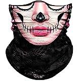 Obacle Skull Face Mask for Women Men Dust Wind UV Sun Protection Seamless Bandana Face Mask for Rave Festival Motorcycle Riding Biker Fishing Hunting Outdoor Running 3D Tube Mask (Pink Flower Face)
