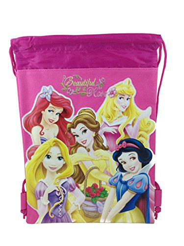 Disney Princess Drawstring String Backpack School Sport Gym Tote Bag - Dark Pink