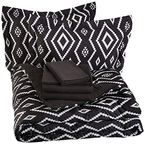 AmazonBasics 7-Piece Bed-In-A-Bag - Full/Queen, Black Aztec (Renewed) (In Bag White And Bed A Twin Black)