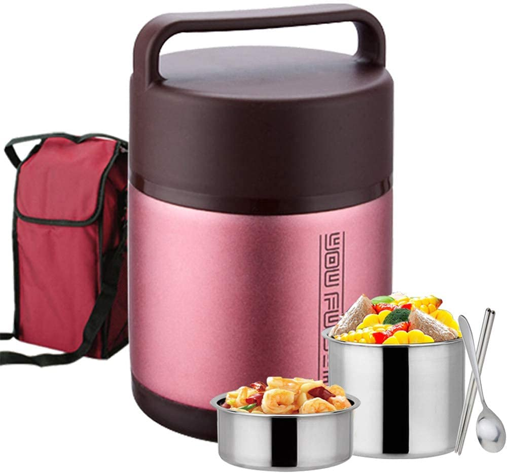 LIANGZHI Vacuum Insulated Lunch Box 2/3 layer Lunch Box Food Carrier Stainless Steel Insulated Thermos Food Container Storage Carrier Travel Hiking Camping Picnics Food Jar(Rose Red - 2.0L)