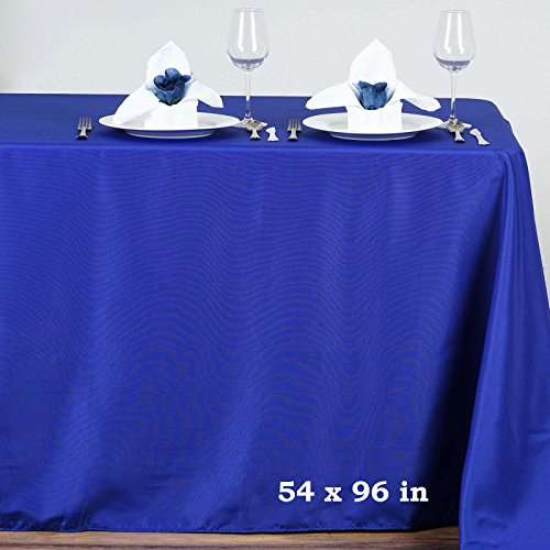 (Efavormart 54x96 Royal Blue Wholesale Linens Polyester Tablecloths Rectangle Banquet Linen Wedding Party Restaurant Tablecloth)