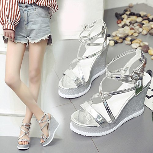 Word Heeled Silver Summer shoes Button Women's One Fashionable High Heel Roman IEason Shoes Clearance Sloping q8wYx4
