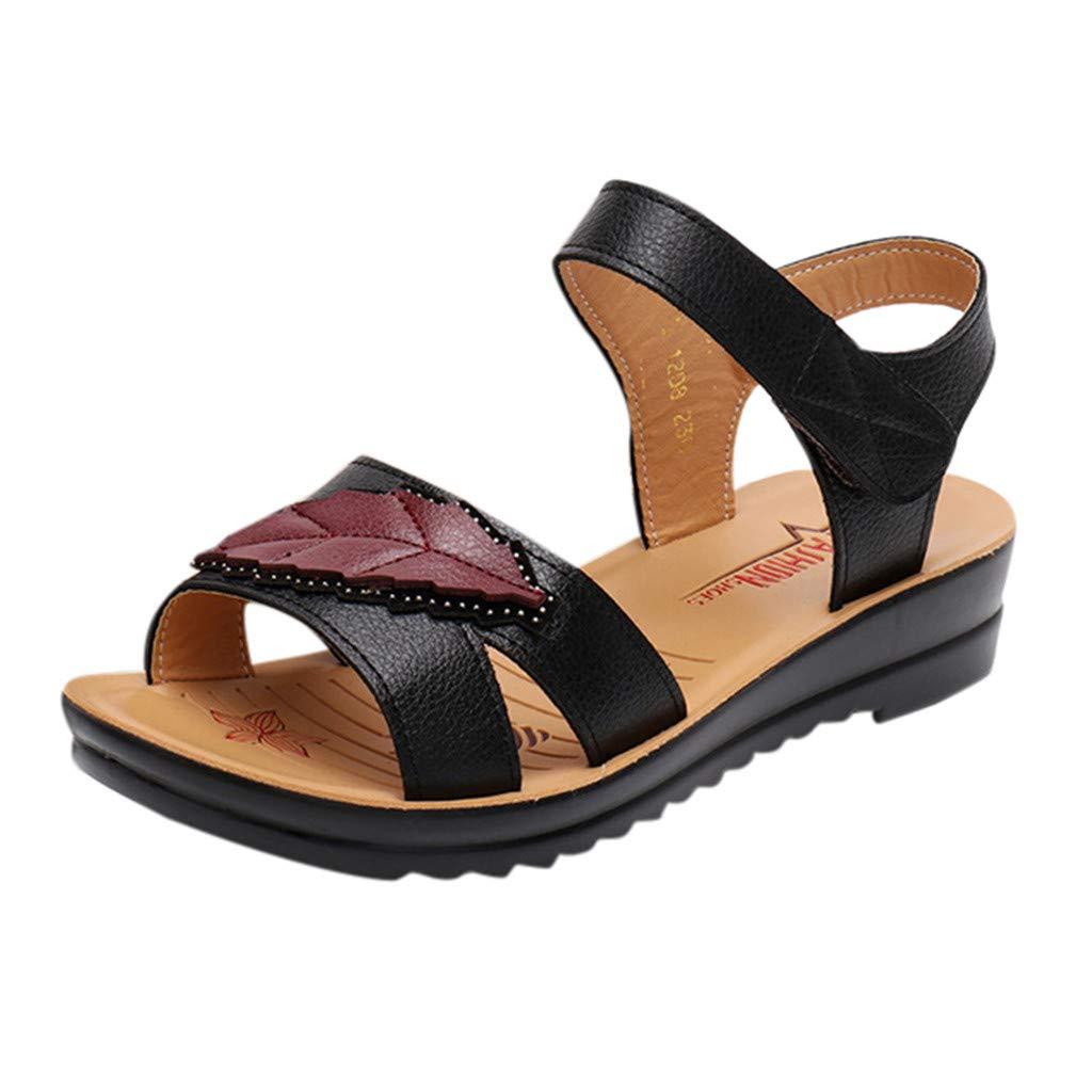 Respctful✿Womens Leather Open Toe Casual Sport Sandals Buckle Sandals Ladies Adjustable Walking Outdoor Sandal Black