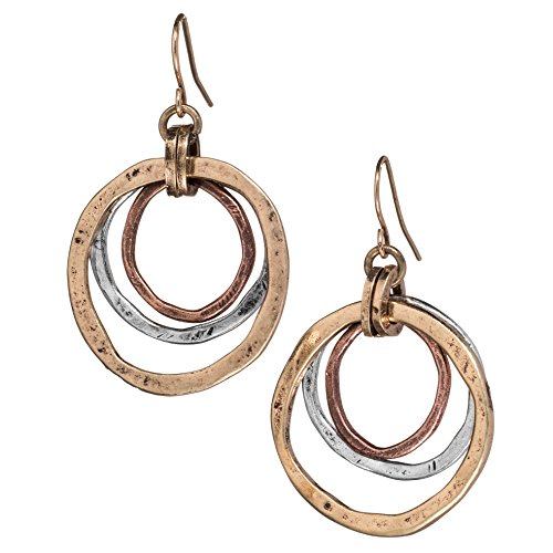(Handmade Sunrise Tricolor Dangle Earrings - Burnished Circles, Copper, Brass and Silverplated )