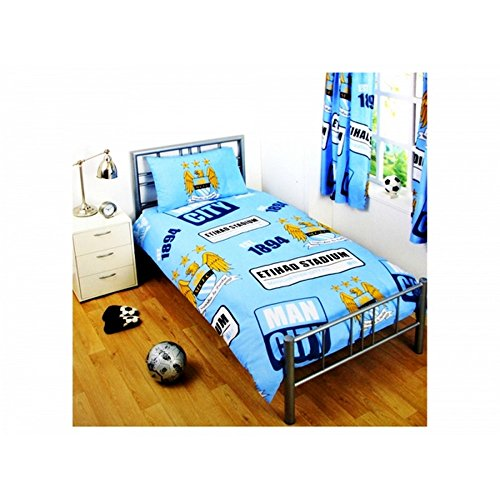 Manchester City FC Official Classic Crest Patch Twin Comforter and Pillow Set (Twin Bed) (Sky Blue) (Classic Toddler Bedding)