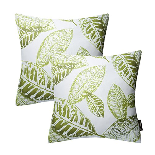Phantoscope® New Living Blue&Green Decorative Throw Pillow Case Cushion Cover Leaves-BG Set of 2