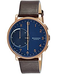 Hagen Stainless Steel and Leather Hybrid Smartwatch, Color Rose Gold-Tone, Dark Brown SKT1103