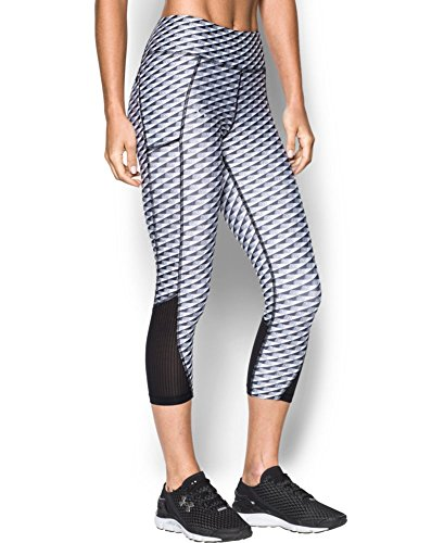 Under Armour Women's Fly-By Printed Capri, Black/White, X-Small