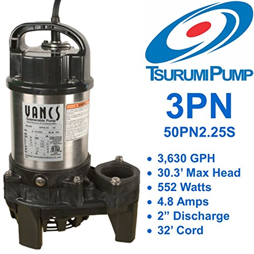 115v Solids Handling Water (Tsurumi 3PN (50PN2.25S) 1/3 hp, 115V, submersible pond & waterfall pump, stainless steel, 3540 GPH. 2