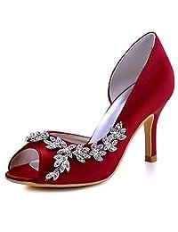 ElegantPark HP1542 Women Peep Toe Rhinestones High Heel Satin Wedding Bridal Shoes